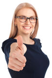 Beautiful girl with thumbs up. Portrait of beautiful girl with thumbs up. Focus on hand Royalty Free Stock Photography