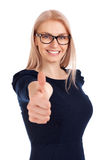 Beautiful girl with thumbs up. Portrait of beautiful girl with thumbs up Stock Photo