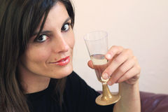 Beautiful girl toasting Stock Photography