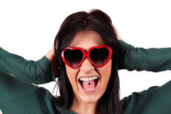 Beautiful girl with tongue piercing Royalty Free Stock Images