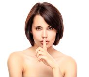 Beautiful Girl Touching Her Face. Isolated on a White Background Royalty Free Stock Images