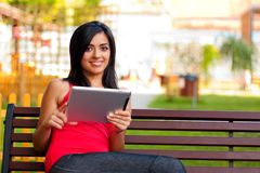 Beautiful girl with touchscreen tablet Stock Photos