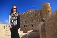 Beautiful girl tourist at Alexandria - Egypt Royalty Free Stock Images