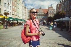 Beautiful girl tourist portrait Stock Image
