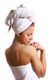 Beautiful girl in towel Stock Photo