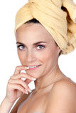 Beautiful girl with towel Stock Photos