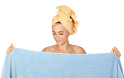 Beautiful girl with towel Royalty Free Stock Photography