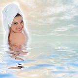 Beautiful girl with towel Stock Photos