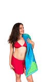 Beautiful girl with towel in swimsuit Stock Photography