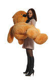 Beautiful girl with toy bear Royalty Free Stock Photography