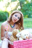 Beautiful girl with toys Stock Photography