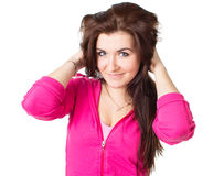 A beautiful girl in a tracksuit Royalty Free Stock Image