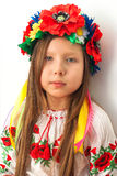 Beautiful girl with traditional costume of Ukraine Royalty Free Stock Photos