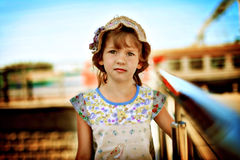 Beautiful girl at the train station Stock Image