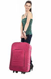 Beautiful girl with a travel bag. Over white background Royalty Free Stock Images