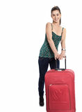 Beautiful girl with a travel bag. Over white background. It is not isolated Stock Image