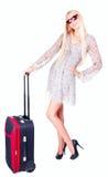 Beautiful girl with a travel bag Stock Photos