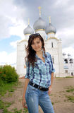 Beautiful girl travel in Rostov Royalty Free Stock Photography