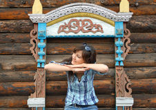 Beautiful girl travel in Rostov Stock Images