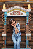 Beautiful girl travel in Rostov Stock Photography