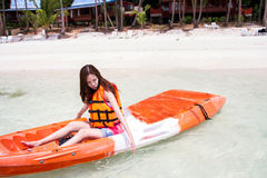 Beautiful Girl With  Travel and Vacation on The Beach enjoying Stock Image