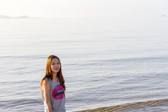 Beautiful Girl With  Travel and Vacation on The Beach enjoying Royalty Free Stock Photos