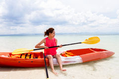 Beautiful Girl With  Travel and Vacation on The Beach enjoying Royalty Free Stock Photography