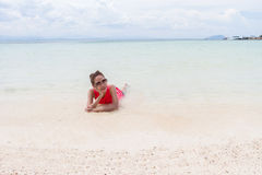 Beautiful Girl With  Travel and Vacation on The Beach enjoying Stock Photography