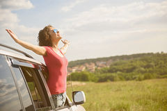 Beautiful girl traveling by car Royalty Free Stock Photos