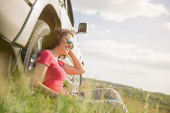 Beautiful girl traveling by car Stock Photo
