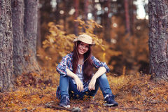 Beautiful girl traveling in  woods Royalty Free Stock Images