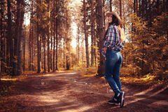 Beautiful girl traveling in  woods Stock Image