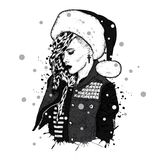 A beautiful girl in the trigger with thorns and wearing a Santa Claus hat. Vector illustration. New Year`s and Christmas. Royalty Free Stock Photos