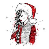 A beautiful girl in the trigger with thorns and wearing a Santa Claus hat. Vector illustration. New Year`s and Christmas. Royalty Free Stock Image