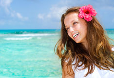 Beautiful Girl in Tropical Resort Stock Images