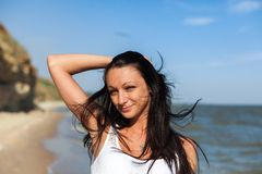 Beautiful Girl in Tropical Resort Royalty Free Stock Photography