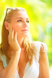 Beautiful girl on tropical resort Stock Photo