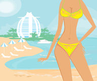 Beautiful girl on a tropical vacation Royalty Free Stock Image