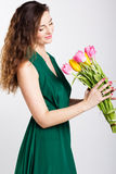 Beautiful girl with tulips Royalty Free Stock Photo