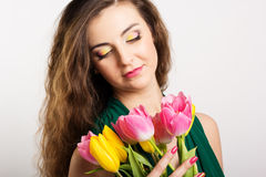 Beautiful girl with tulips Royalty Free Stock Photography