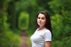 Beautiful girl in tunnel of love Stock Photos