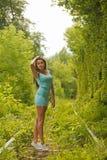 Beautiful girl in tunnel of love Stock Photo