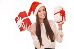 Beautiful girl with two gift boxes Royalty Free Stock Images