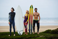 Beautiful  girl and two sexual surfers guys standing on the beach and preparing for the conquered the waves Stock Photos