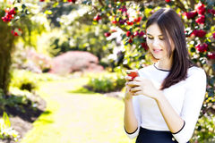 Beautiful girl typing text message on her smart phone in the gar Stock Photo