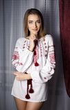 Beautiful girl in a Ukraine national dress Stock Photos
