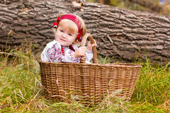 Beautiful girl in ukrainian costume in a basket Royalty Free Stock Photos