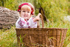 Beautiful girl in ukrainian costume in a basket Royalty Free Stock Images