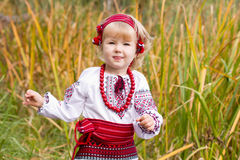 Beautiful girl in ukrainian costume in a field Royalty Free Stock Images