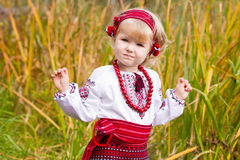 Beautiful girl in ukrainian costume in a field Stock Photos